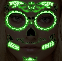 Temporary Face Tattoo - Glow in the Dark Sugar Skull