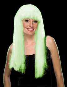 Glow In The Dark Wig - Deluxe Long Glowing Wig (White)