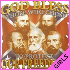 God Bless Those Who Protect Our Freedom Confederate Ladies T-shirt