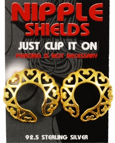 Gold Plated Sterling Silver Nipple Shields (Love Hearts) (Pair)