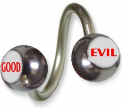 Good and Evil Surgical Steel Navel Twist Jewelry