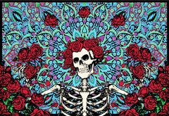 "Grateful Dead Skeleton & Roses Tapestry (60"" x 90"")"