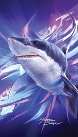 Great White Shark on the Prowl Velour Beach Towel