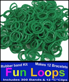 Green Rubberband Looms - 300 Fun Loop Pieces
