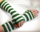 Green Striped Pair of Arm Warmers