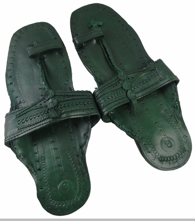 Green Unisex Water Buffalo Hippie Jesus Sandals<!-- Click to Enlarge-->