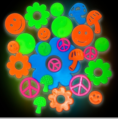 Groovy Sixties  Shape Glow in the Dark Wall Decorations (24 pack)<!-- Click to Enlarge-->