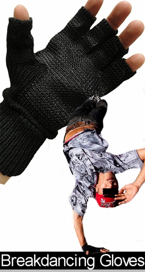 Hand Spin Pair of Fingerless Gloves For Break Dancing (Black)<!-- Click to Enlarge-->