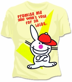 Happy Bunny Don't Vote For an Idiot Girls T-Shirt