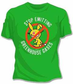 Happy Bunny Stop Emitting Greenhouse Gases T-Shirt