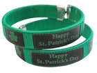 Happy St. Patrick's Day Irish Shamrock Cuff Bracelet (Green/Black)