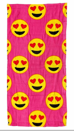 Heart Eyes Smiley Face Emoji Velour Beach & Bath Towel (Pink)<!-- Click to Enlarge-->