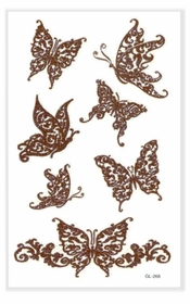 Henna Style Butterfly Glitter Temporary Tattoo