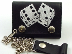 High Roller Embroidered Leather Chain Wallet