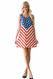 Horizontal V-Stripe American Flag Ladies Dress