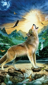 Howling Wolf - When Nature Calls Velour Beach Towel