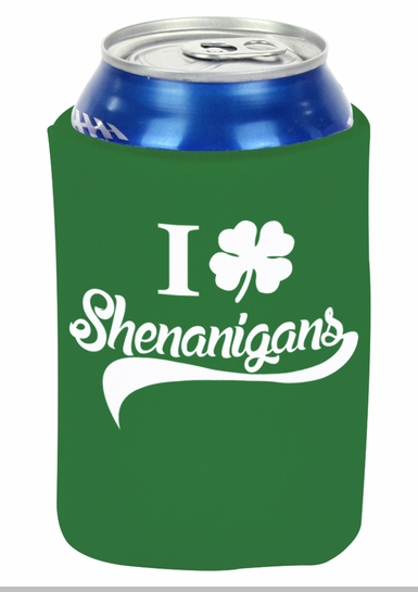 I Clover Shenanigans Funny St Patricks Day Drinking Koozie (Kelly Green)<!-- Click to Enlarge-->
