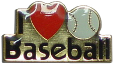 I Love Baseball Lapel Pin