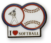 I Love Softball Lapel Pin