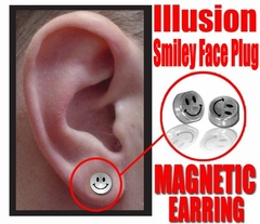 Illusion Smiley Face Magnetic Stud Earring (Chrome)