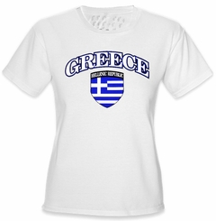 International Soccer Shirts - Greece Crest T-Shirt (Girls)
