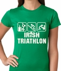 Irish Triathlon Funny St. Patrick's Day Ladies T-shirt