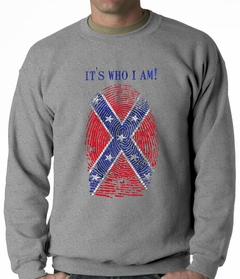 It's Who I Am Confederate Flag Thumb Print Adult Crewneck
