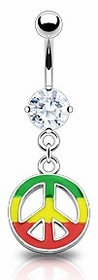 Navel Body Jewlery - Jamaican Color Peace Sign Belly Button Ring
