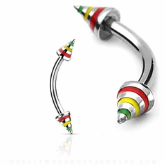 Eyebrow Body Jewelry - Jamaican Themed Spike Curved Barbell