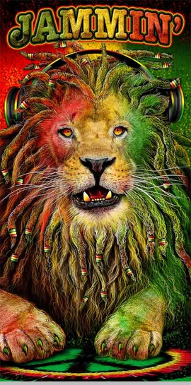 Jammin Rasta Lion Beach & Bath Towel (30x60 Inches)<!-- Click to Enlarge-->