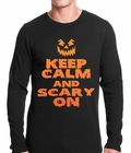 Keep Calm and Scary On Funny Halloween Thermal Shirt