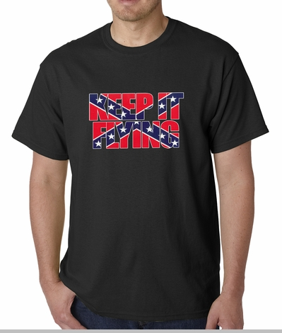 Keep It Flying (Confederate Flag Inside Words) Mens T-shirt<!-- Click to Enlarge-->