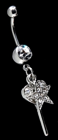 Navel Body Jewelry - Key w/ Dangle Star Pave Belly Button Ring
