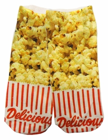 Kids & Adults Photo Print Ankle Socks - Delicious Popcorn