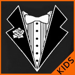 Kids Tuxedo Shirt With White Flower (Black)