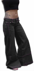 "Kikgirl Jeans - KikGirl 26"" Deluxe Wideleg Pants (Black Denim)"