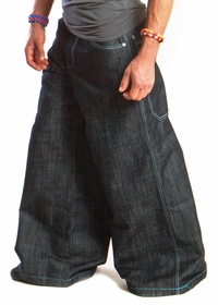 "Kikwear Jeans - Kikwear 32""  Bottom Super Deluxe Wide Leg  Pant (Black Denim)"