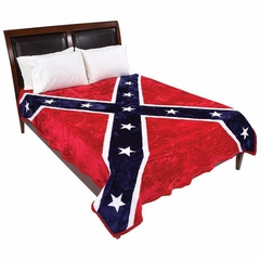 King / Queen Size Plush Thick Confederate Rebel Flag Blanket