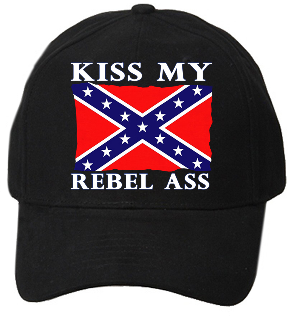 Kiss my rebel ass confederate flag baseball hat