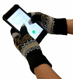 Knit Snow Flakes Texting Glove (Black/Khaki)