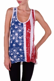 Ladies White American Flag Print Top