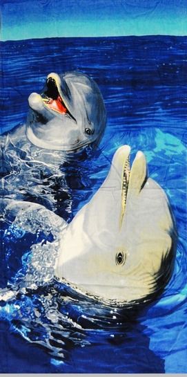 "Laughing Dolphins Beach and Bath Towel (30"" x 60"")<!-- Click to Enlarge-->"
