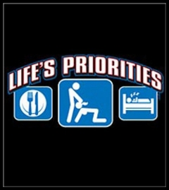 Lifes Priorities.  Eat, Sleep and Get some Head T-Shirt