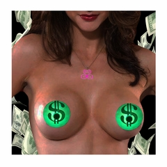 Light-Up Color Changing LED Nipple Pastie - Dollar Signs