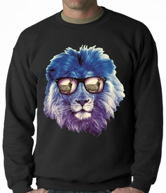 Lion Wearing Sunglasses Looking at a Zebra Adult Crewneck