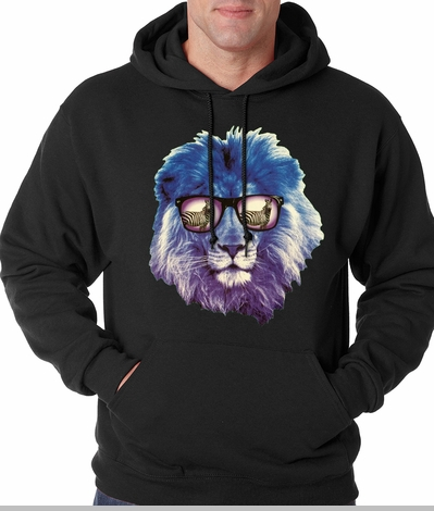 Lion Wearing Sunglasses Looking at a Zebra Adult Hoodie<!-- Click to Enlarge-->