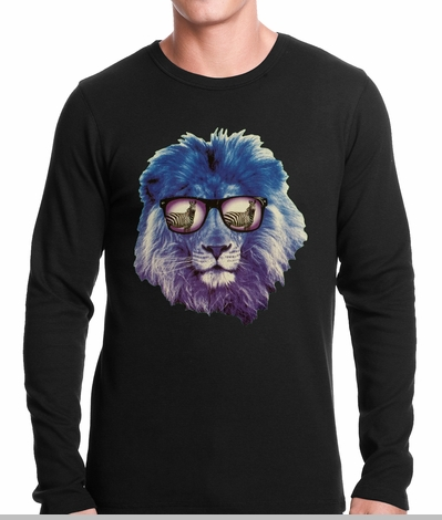 Lion Wearing Sunglasses Looking at a Zebra Thermal Shirt<!-- Click to Enlarge-->