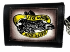 Live to Ride Ride to Live Genuine Leather Chain Wallet