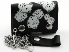 Lucky Dice Genuine Leather Chain Wallet