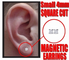 Magnetic C.Z Pair of Square Cut  Earrings (Small 4mm)